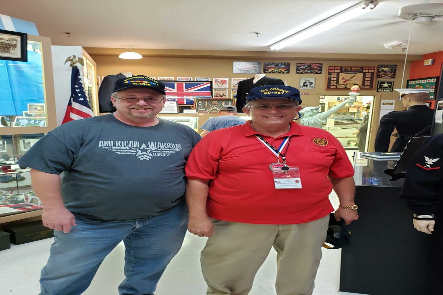 Daniel met this man at a Veteran's Museum and Education Center in Daytona Beach, FL. The gentleman served on the same ship as Kevin as a Plank Owner on the USS O'Bannon DD-987 from 1979-1984.