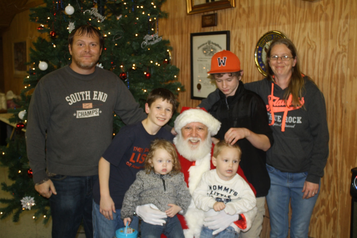 Kevin Pugh Family with Santa