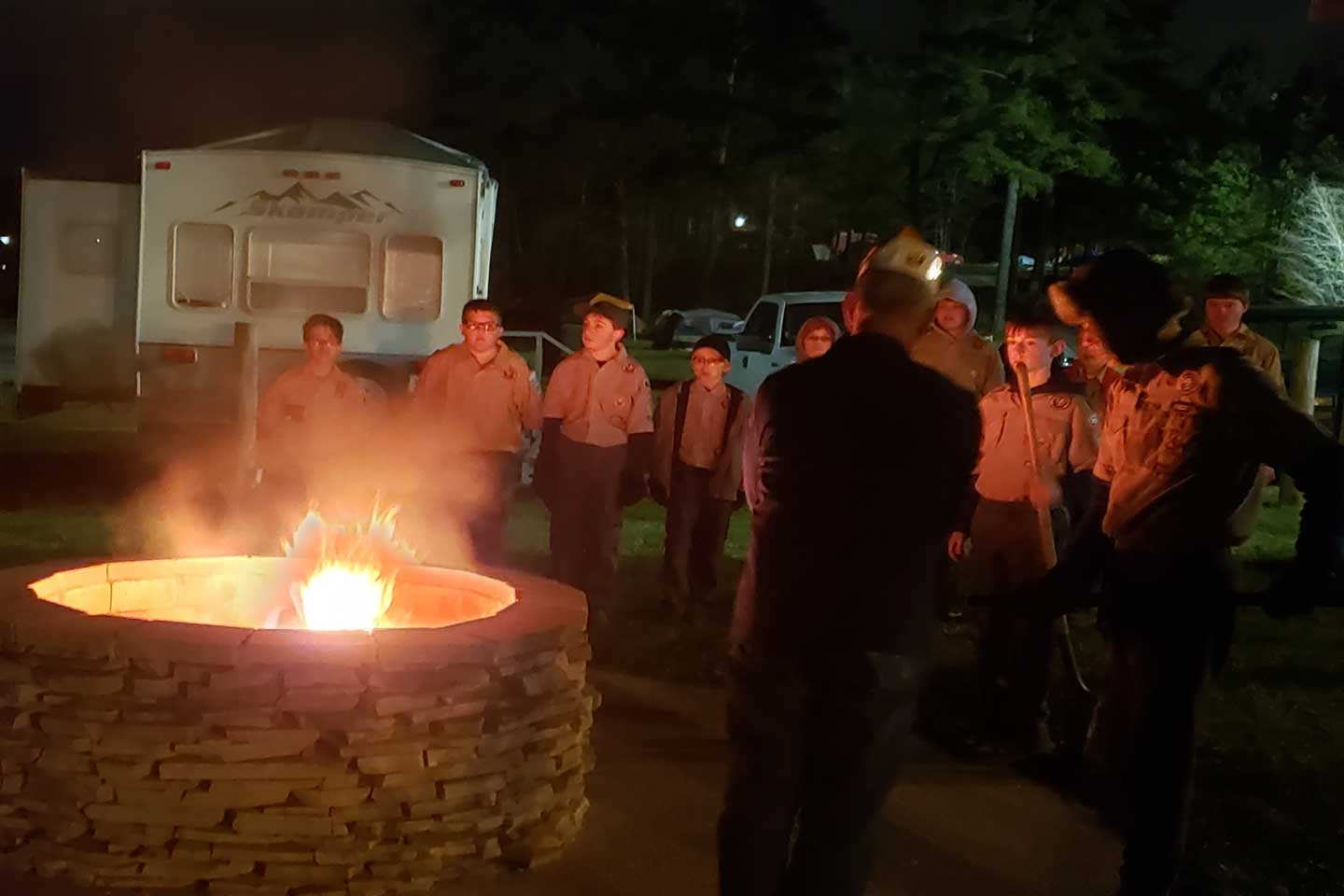 On Thursday March 14, 2019, Officers, and Auxiliary Members of Veterans of Foreign Wars Post 7402 were joined by members of Boy Scout Troop 353 {Powder Springs. GA.} and Troop 23{Rockmart, GA.} ceremoniously retiring 75 United States of American flags.