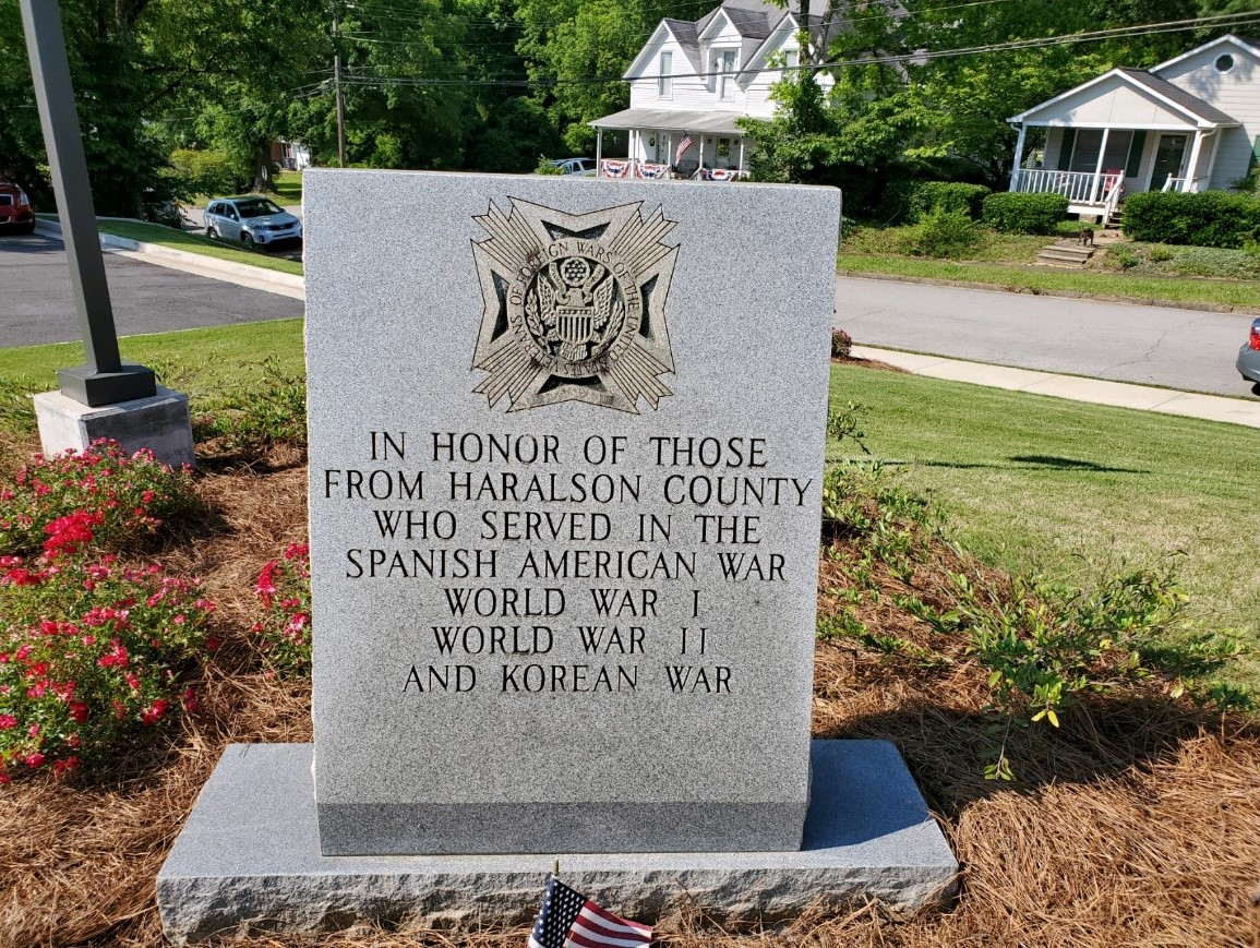 Monument in Honor who served during the Spanish American War, WW1, WW2, and the Korean War.